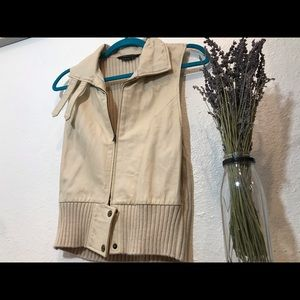 BCBG MaXeria Tan Knit and Leather Vest